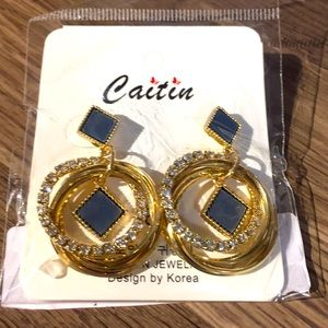 Fashion earrings NEW gold and blue
